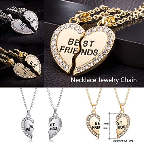 YOMXL Necklaces for 2 Split Heart Gifts for Teen Girls Best Friend Necklaces Jewelry BFF Friendship Gifts