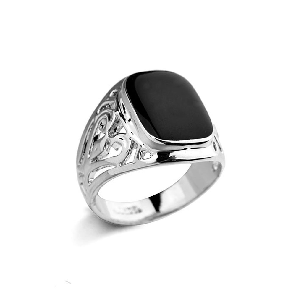 Star Jewelry White Gold Plated Man and Woman Enamel Ring New Years Gift Jewelry Promise Ring Size 6-14