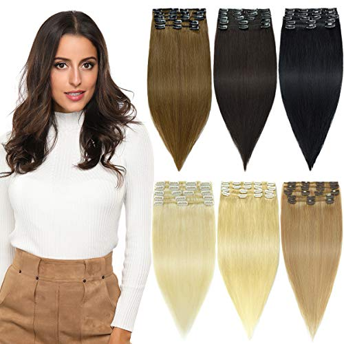 ROSEBUD Clip in Hair Extensions REMY Human Hair 8Pcs 18 Clips Set 14-22 inch (Rose Extensions)
