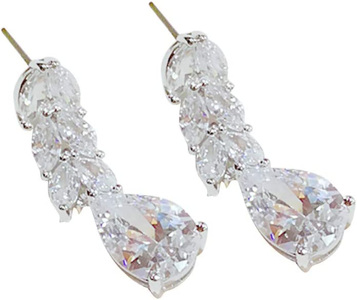 Amazon Com 8888 Ddlmax Leaf Drop Shaped Zircon Earrings Rhinestone Fashion Earrings Personality For Birthday Party Christmas Friendship Gifts Garden Outdoor
