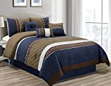 7-piece Navy Blue, Tan, Chocolate Brown, White Pleated Striped Diamond Quilted Embroidered Comforter Set, Queen