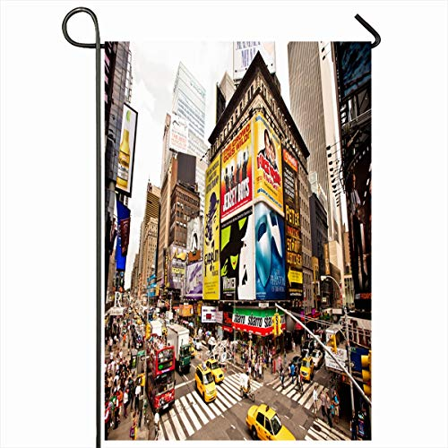 Ahawoso Garden Flag 12x18 Inches Skyscraper York Yellow Broadway New City July Life Street 22 Times Parks NYC Theater Downtown Sky Decorative Seasonal Double Sided Home House Outdoor Yard Sign