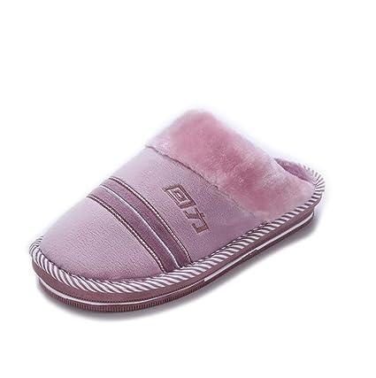 SHANGXIAN Mujer Casa Pantuflas Comodidad Invierno Cálido Interior Pantuflas Suave Espuma De Memoria Zapatos,A