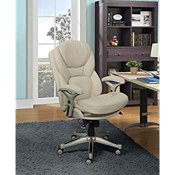 Serta Works Executive Office Chair With Back In Motion Technology, Bonded  Leather, Ivory