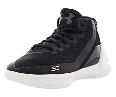 1f6ef93e0000 Under Armour Boy s Curry 3 Basketball Shoe Black White Size 1 ...