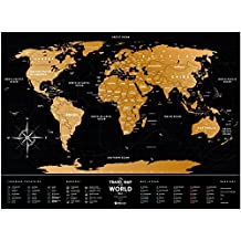 Scratch Off World Travel Map: 1DEA.me Black Scratchable Poster of the World & USA - Interactive Modern Geography Maps, Travel Tracker & Wall Art Decor for Kids & Adults - Markable Plastic Atlas