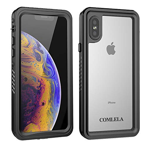 COMLELA iPhone Xs/X Waterproof Case, IP68 Certified Full Body Protective Underwater SandProof Shockproof Snowproof for iPhone Xs/X - 5.8 inch (Clear)