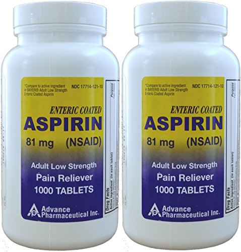 Aspirin Adult Low Dose Enteric Coated 81 mg Generic for Bayer Aspirin Low Dose 1000 Tablets Per Bottle Pack of 2 by Advance Pharmaceutical
