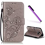 P9 LITE Cover HUAWEI P9 MINI Cover EMAXELER Stylish Wallet Cover Kickstand Flip Cover Credit Cards Slot Cash Pockets PU Leather Flip Wallet Cover with Stand For HUAWEI P9 LITE Butterfly Gray