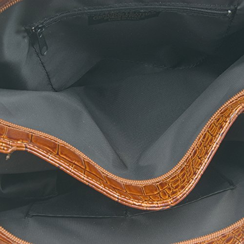 FIRENZE ARTEGIANI.Bolso de mujer piel auténtica.Bolso de piel grabado cocodrilo efecto charol.Bolso hombro mujer cuero genuino. MADE IN ITALY. VERA PELLE ITALIANA. 46x34x9 cm. Color: CUERO CUERO