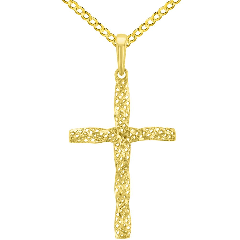 14K Yellow Gold Textured Spiral Tube Cross Pendant Cuban Chain Necklace