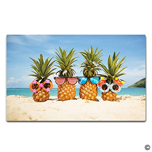 - Artswow Personalized Doormat Funny Entrance Floor Mat Door Mat with Non Slip Rubber Backing Decorative Indoor Outdoor Door Mat 23.6 by 15.7 Inch - Pineapple