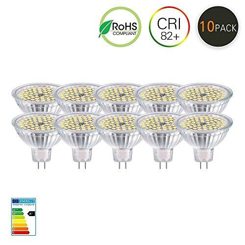 Velouer MR16 LED Light Bulbs,GU5.3 Led Spot Light Bulbs,AC DC 12V, 5W Recessed Tracking Bulbs,50W Halogen Equivalent Daylight Cool White 6000K,Not Dimmable 10 Pack - 12v Ac Halogen Spot