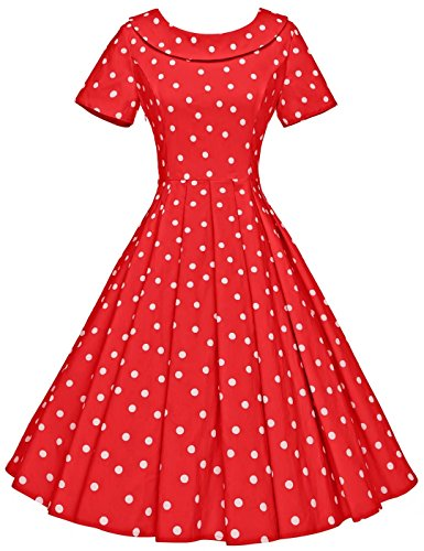 GownTown Women's 1950s Polka Dot Vintage Dresses Audrey Hepburn Style Party Dresses (Red Dot, Large) ()