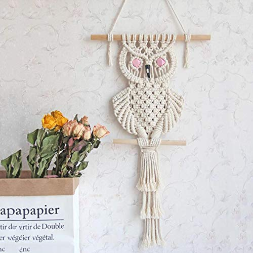 zenggp Macrame Wall Hanging Woven Wall Circle Macrame Hand-Woven Owl Tapestry Wall Ornament Wall Decoration ()