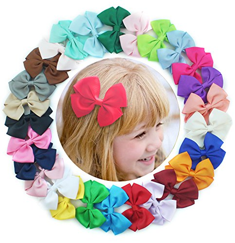 27 Pcs 3 inches Boutique Hair Bows Girls Kids Children Alligator Clip Solid Grosgrain Ribbon Hair (Cute Halloween Pic)