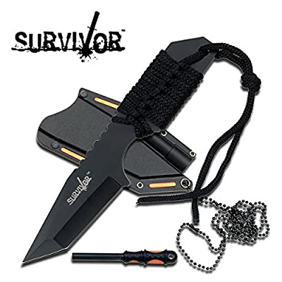 SALE Full Tang Survival Neck Knife & Fire Starter HK762BK from Grey Eagle Traders
