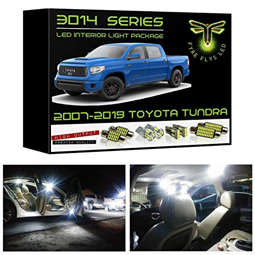 Fyre Flys 18 Piece White LED Interior Lights for 2007-2019 Toyota Tundra Super Bright 6000K 3014 Series SMD Package Kit and Install Tool ()
