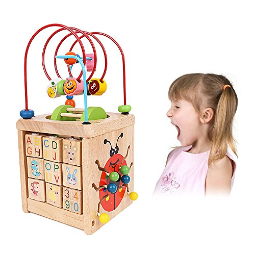Activity Cube, Learning Cube, 6 in 1 Multipurpose Wooden Activity Cube Bead Maze Toy for Baby's & (1 Learning Activity Cube)
