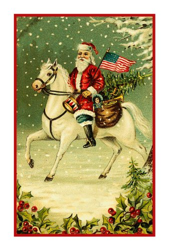 Counted Cross Stitch Chart Victorian Father Christmas Santa on Horseback with American (Flag Cross Stitch)