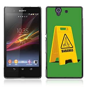 Designer Depo Hard Protection Case for Sony Xperia Z L36H / Banana Slip Sign