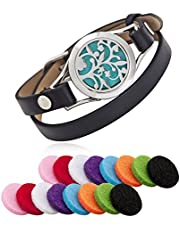 Essential Oil Diffuser Bracelet Stainless Steel Aromatherapy Locket Bracelets Leather Band with 16 Color Pads Girls Women Jewelry Gift Set