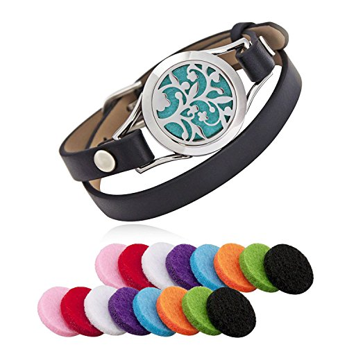 (Aroma Essential Oil Diffuser Bracelet, LURICO Stainless Steel Aromatherapy Locket Bracelets with 16 Color Pads, Adjustable Leather Band with Jewelry Gift Box-Black)