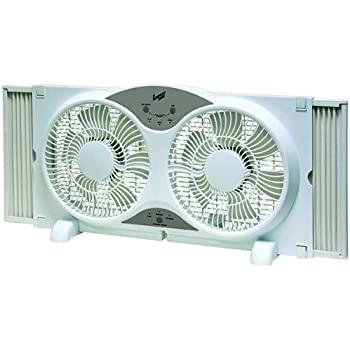 Comfort Zone Twin Window Fan | 3 Speed Fan with 9-Inch Turbo Blades with Remote Control