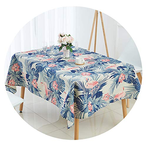 lovehouse21 Nordic Style Animal Flamingo Tablecloth Palm Tree Leaves Linen Tablecloth Manteles Waterproof,Y,140X140Cm