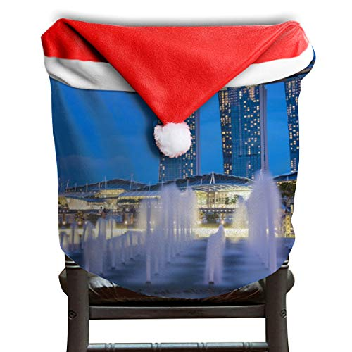OELYZH The Fullerton Hotel Singapore Chair Covers Santa Hat Chair Covers, Holiday Themed Accessories Festive Decor for Home and Dining Room,]()