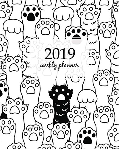 (2019 Weekly Planner: Calendar Schedule Organizer and Journal Notebook With Inspirational Quotes And Cat breed kitten doodle Dog paw hand vector seamless pattern wallpaper background)