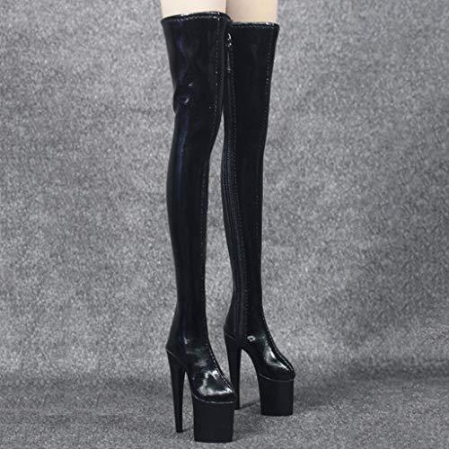 Genou 6 Pour Sur 1 Décor Noir Figurine Féminines Bottes Chaussures Flameer Personnage AqZwvEA4