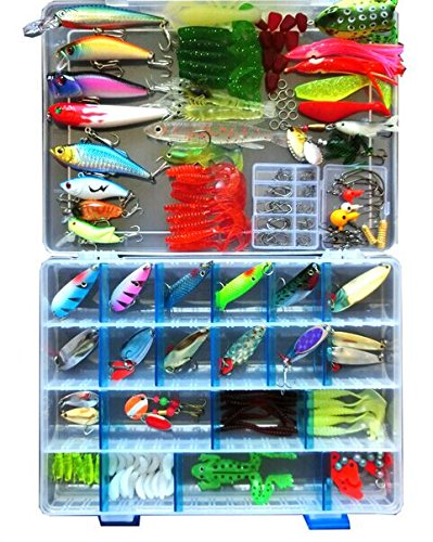 Price comparison product image Bluenet 221pcs Set Bionic Fishing Lure Tackle Kit Set Minnow Crank Spoon Bait Spinner Lure Soft Grubs Shrimp Lure Hard Metal Sequins Lure with Sharp Fishing Hooks