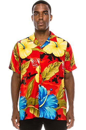 Hawaiian Street Shirt (JC DISTRO Mens Hipster Hip Hop Palm Tree Graphics Button up FLORALRED Hawaiian Shirt XL)