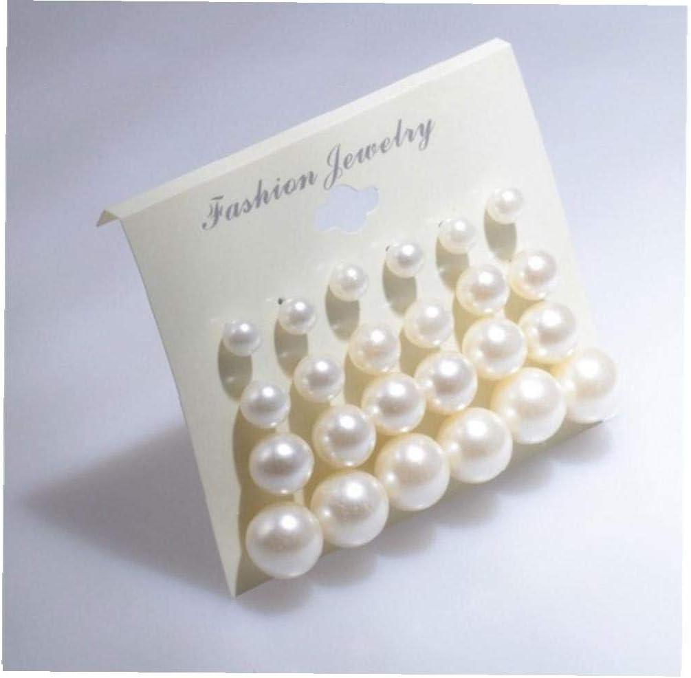 YZLSM 12pairs Bola Blanca Color Surtidos de Tallas Brillante imitación de la Perla Redonda Pendientes de Perlas Artificiales Exquisito Pendiente de alimentación (Blanco)