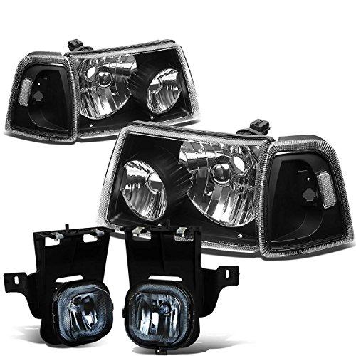 - For Ford Ranger 4pcs Pair of Black Housing Clear Corner HeadLight + Smoked Lens Fog Light