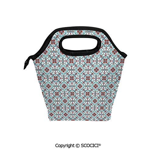 Reusable Insulated Lunch Bags with Pocket Ethnic Antique Floral Pattern Italian Majolica Style Ornate Illustration for Adults Kids Boys Girls.