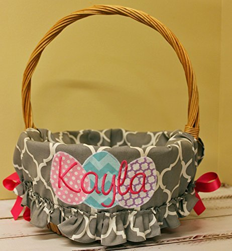 Personalized Easter Basket Liner - Gray Quatrefoil Ruffled - Personalized with Name
