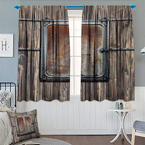 Chaneyhouse Rustic Room Darkening Curtains Wooden Tree Planks with Old and Rusty Two Angled Boat Door Image Artwork Print Customized Curtains 72″ W x 84″ L Brown and Grey