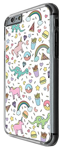 1047 - Cool fun cute unicorn dinosaur fast food junk food fries donut burger pizza diamond doodle drawing Design For iphone 6 6S 4.7'' Fashion Trend CASE Back COVER Plastic&Thin Metal -Clear