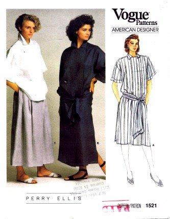 Vogue 1521 Sewing Pattern American Designer Perry Ellis Dress Top Skirt Size 10 - Bust 32 ()
