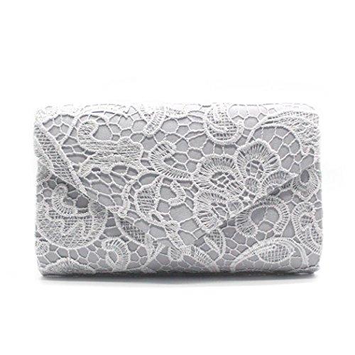 Prom Envelope Evening Elegant Clutch Lace Floral Women's YJYdada Sliver Deep Handbag Blue Purse xq0RCwSTB