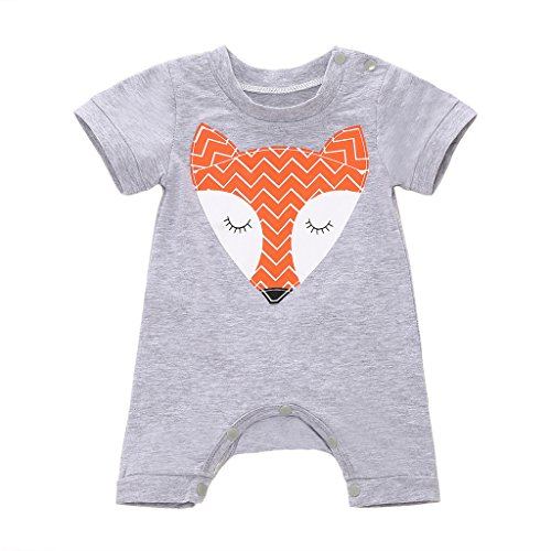 MIOIM Newborn Baby Boys Girls Cute Fox Romper Bodysuit Jumpsuit Pajamas Outfits 0-24M