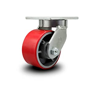 """Extra Heavy Duty Kingpinless 6"""" x 3"""" Red Polyurethane Tread on Metal Core Swivel Caster - 2,000 lbs/Caster - Service Caster Brand"""