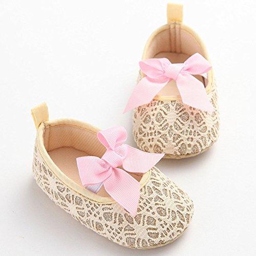etrack-online purpurina zapatos de bebé Zapatillas Suave Antideslizante Suela Infantil Prewalker blanco roto blanco Talla:12-18months dorado
