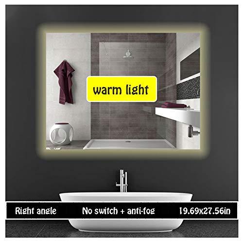 Bathroom Mirror Light,(50X70CM) Illuminated LED Bathroom Mirror Light Heated Demister Mirror Pad -