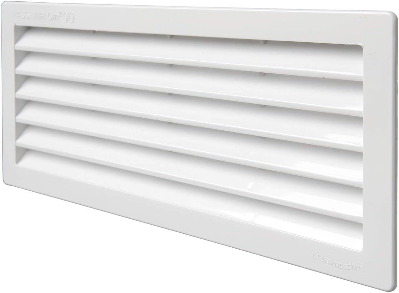 La Ventilazione P252510B - Rejilla de ventilación rectangular, color blanco, dimensiones 254 x 108 mm