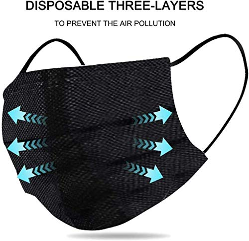 1above 50pk Disposable 3 Layer Face Masks High Filterability Suitable For Sensitive Skin Black