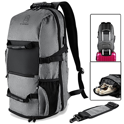 Laptop Backpack with USB Charging Port for 17.3 Inch Laptop Travel Duffel Backpack (Grey)