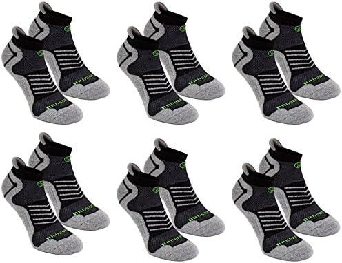 Brubaker 6 Pack Zapatillas Función Calcetines con pestaña Suave talón para Deportes, Correr, Mountain Biking